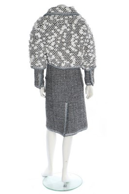 Lot 47-A Chanel silver tweed ensemble trimmed with...