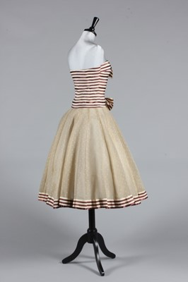 Lot 87-A Chanel couture striped satin cocktail dress,...