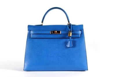 Lot 10-An Hermès bleu saphir epsom leather Kelly bag,...