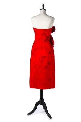 Lot 87-A Christian Dior couture cut velvet and red...