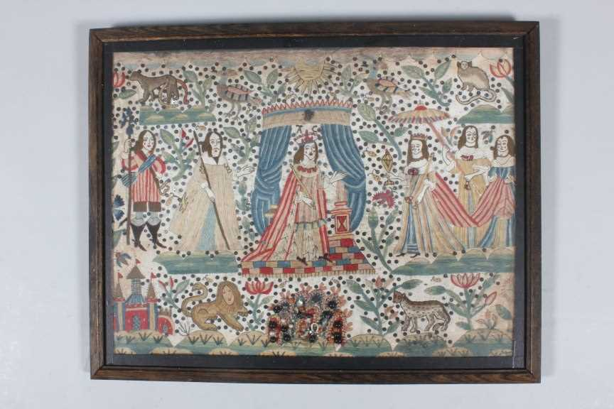 Lot 82 - A fine and rare wool embroidered picture of...