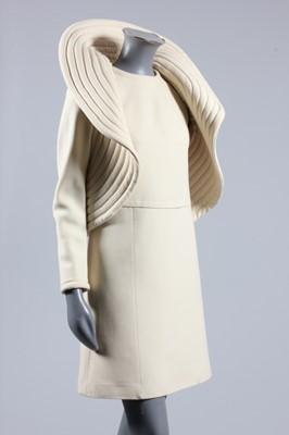 Lot 94 - A Pierre Cardin cream wool crepe 'circle'...