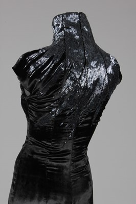 Lot 158-An Alexander McQueen black velvet and bugle...