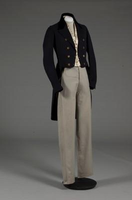 Lot 51 - A rare gentleman's day ensemble, early 1850s,...
