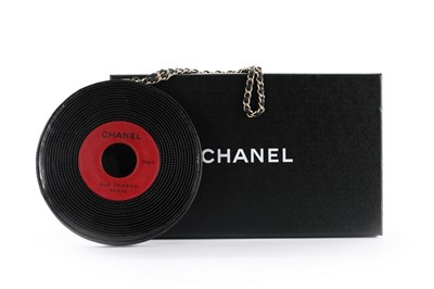 Lot 1-A Chanel patent leather 'vinyl record' bag,...