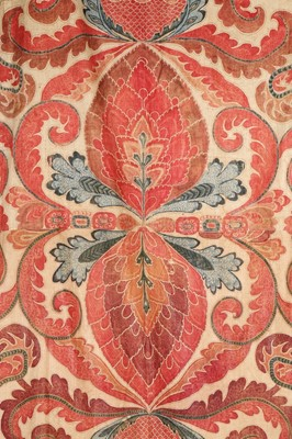 Lot 465-A large printed and hand-painted cotton...