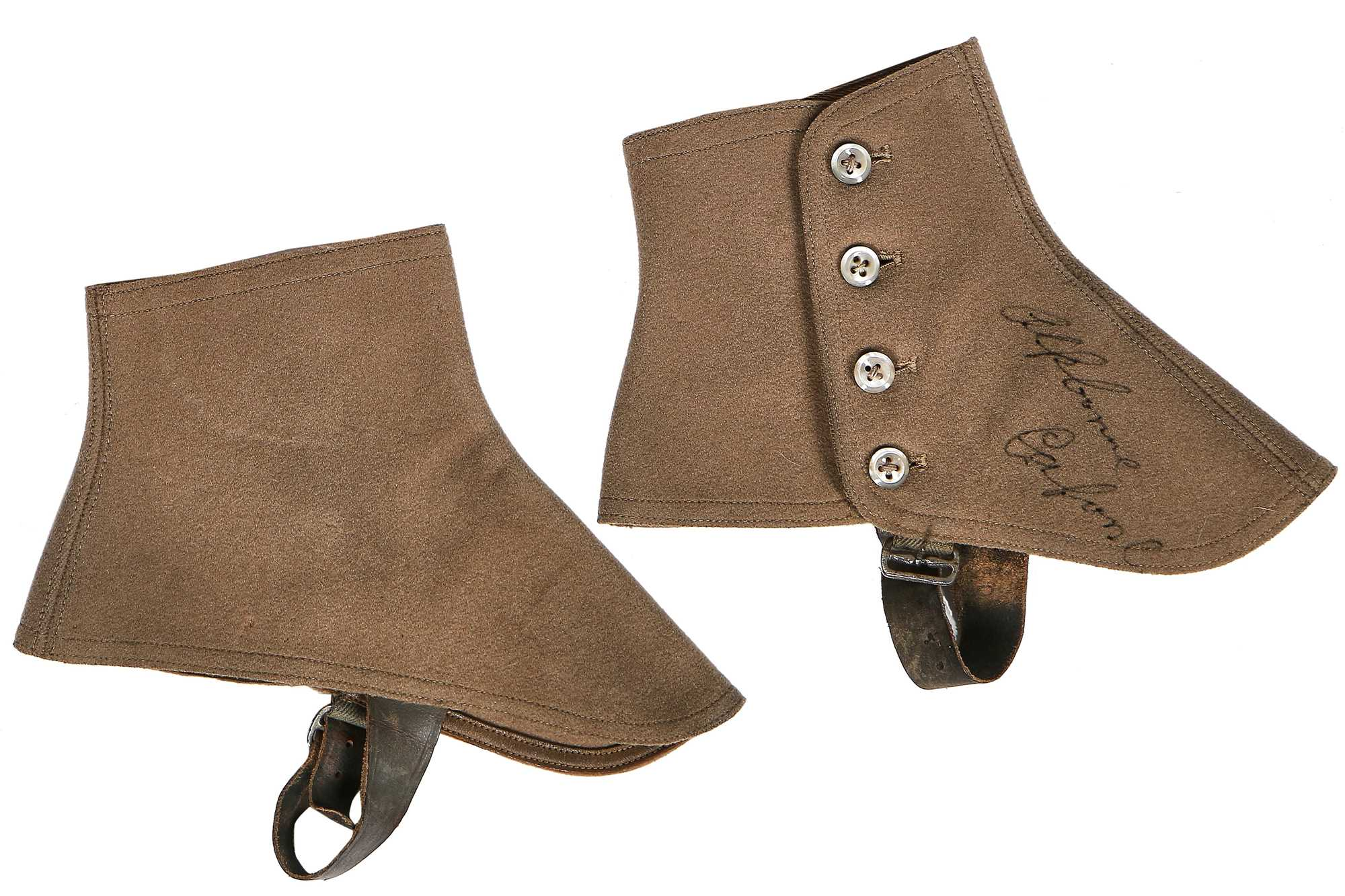 Lot 46-A rare pair of spats autographed by Al (Scarface) Capone, 1920s