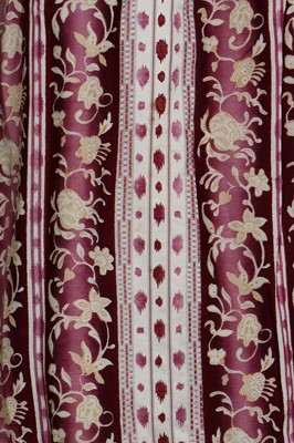 Lot 38 - A magenta-striped cotton day dress, late 1830s-early 1840s