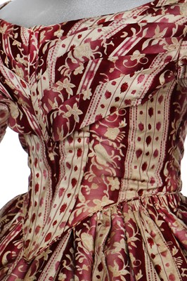 Lot 38-A magenta-striped cotton day dress, late 1830s-early 1840s
