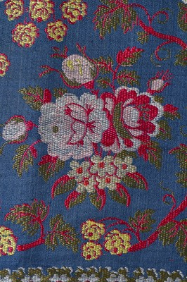 Lot 36-A Spitalfields peacock-blue silk stole, 1810-20