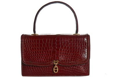 Lot 2-An Hermès cherry-red crocodile sac chaine d'ancre, late 1950s-early 1960s