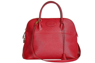 Lot 3-An Hermès cherry-red epsom leather Bolide bag, 1994