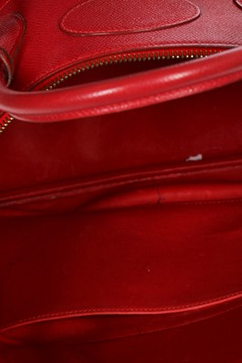 Lot 3 - An Hermès cherry-red epsom leather Bolide bag, 1994