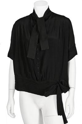 Lot 76-A Gabrielle Chanel couture black silk crêpe blouse, probably circa 1925