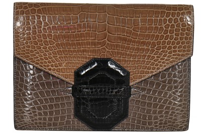 Lot 6-A J.P Renard tri-colour crocodile clutch, early 1970s