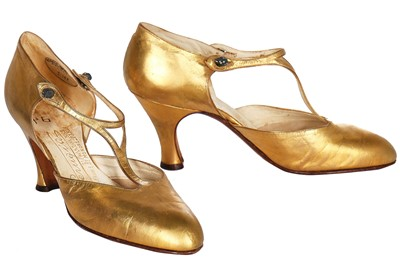 Lot 70-A pair of Perugia gold leather shoes, circa 1925