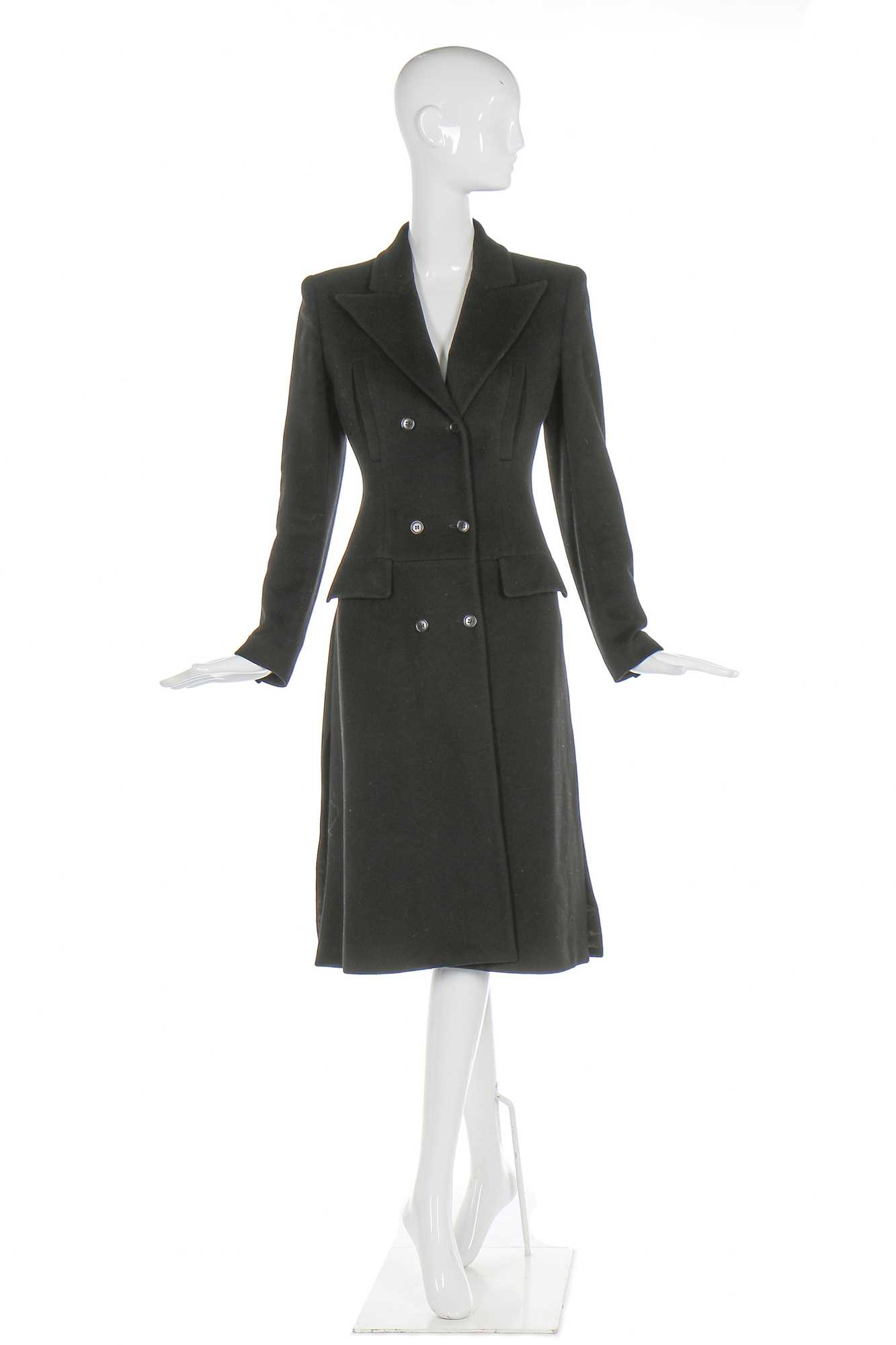 Lot 10-Alexander McQueen black cashmere coat, probably 'It's a Jungle Out There' Autumn-Winter 1997-98