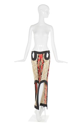 Lot 14-Alexander McQueen pair of striped, brocaded wool Bumsters, 'The Eye', Spring-Summer 2000