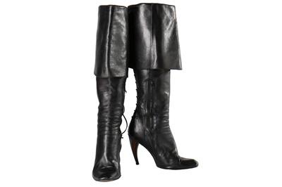 Lot 18-Alexander McQueen pair of black leather Buccaneer boots, 'Irere', Spring-Summer 2003
