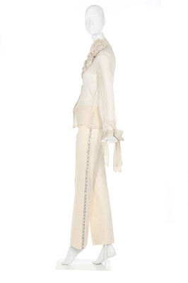Lot 19-Alexander McQueen ivory wool trousers with rhinestone side stripes, 2003