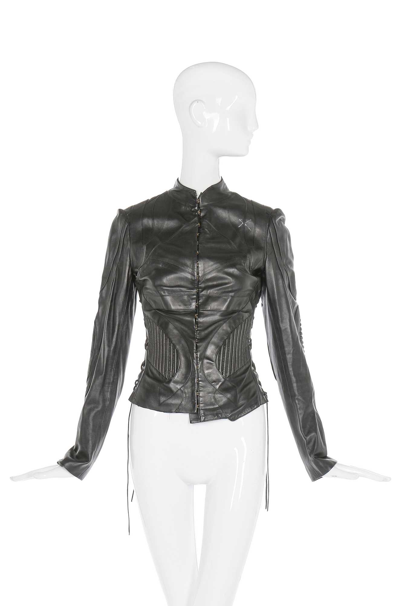 Lot 25-Alexander McQueen panelled black leather jacket, 'Scanners', Autumn-Winter 2003-04