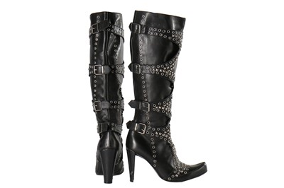 Lot 28-Alexander McQueen pair of studded black leather boots, 'Scanners', Autumn-Winter 2003-04