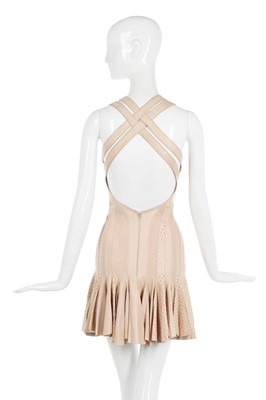 Lot 29-Alexander McQueen tan leather dress, pre-Spring collection 2004