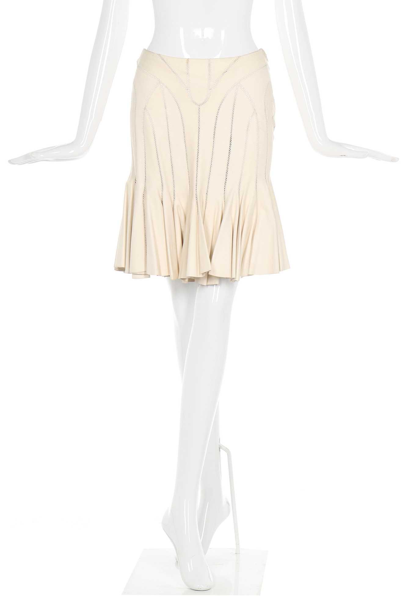 Lot 32-Alexander McQueen panelled leather skirt, 'Deliverance', Spring-Summer 2004