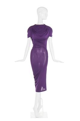 Lot 36-Alexander McQueen purple draped jersey dress, 'Pantheon as Lecum', Autumn-Winter 2005-06