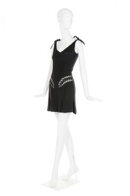 Lot 38-Alexander McQueen black crêpe dinner dress, 2006