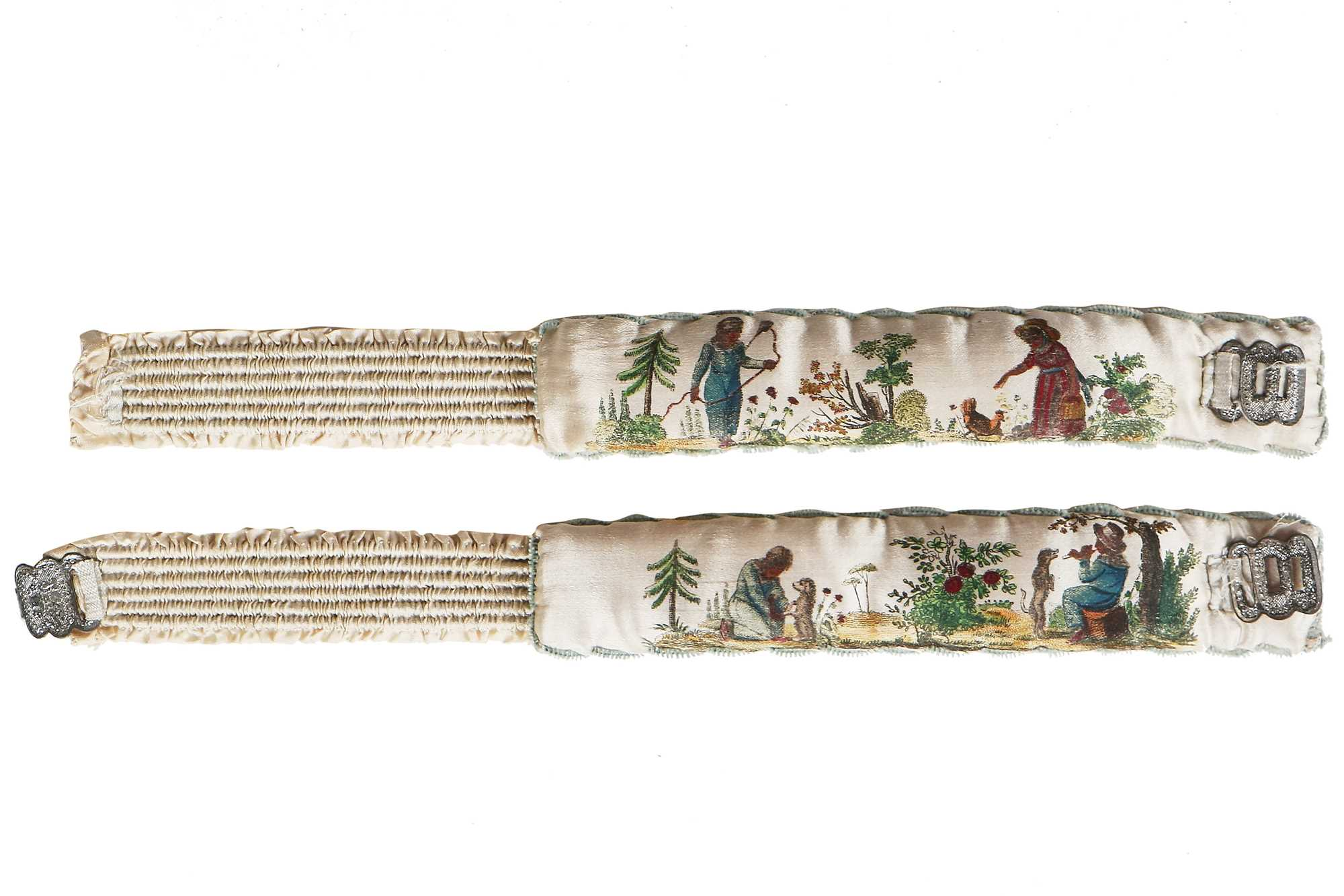 Lot 40-A rare pair of printed and painted satin garters, 1820s