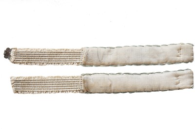 Lot 40 - A rare pair of printed and painted satin garters, 1820s