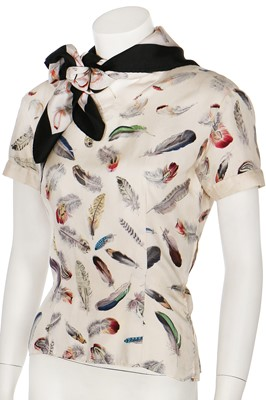 Lot 24 - An Hermès 'Plume' print by Henri de Linarès bodice and scarf, 1950s