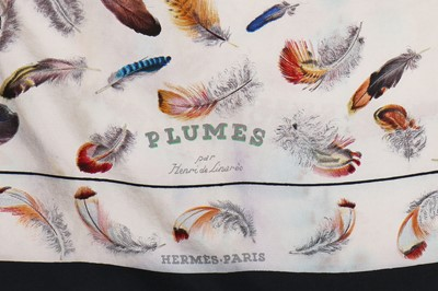 Lot 24-An Hermès 'Plume' print by Henri de Linarès bodice and scarf, 1950s