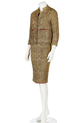 Lot 20-A Chanel couture gold brocatelle cocktail ensemble gold suit, 1962