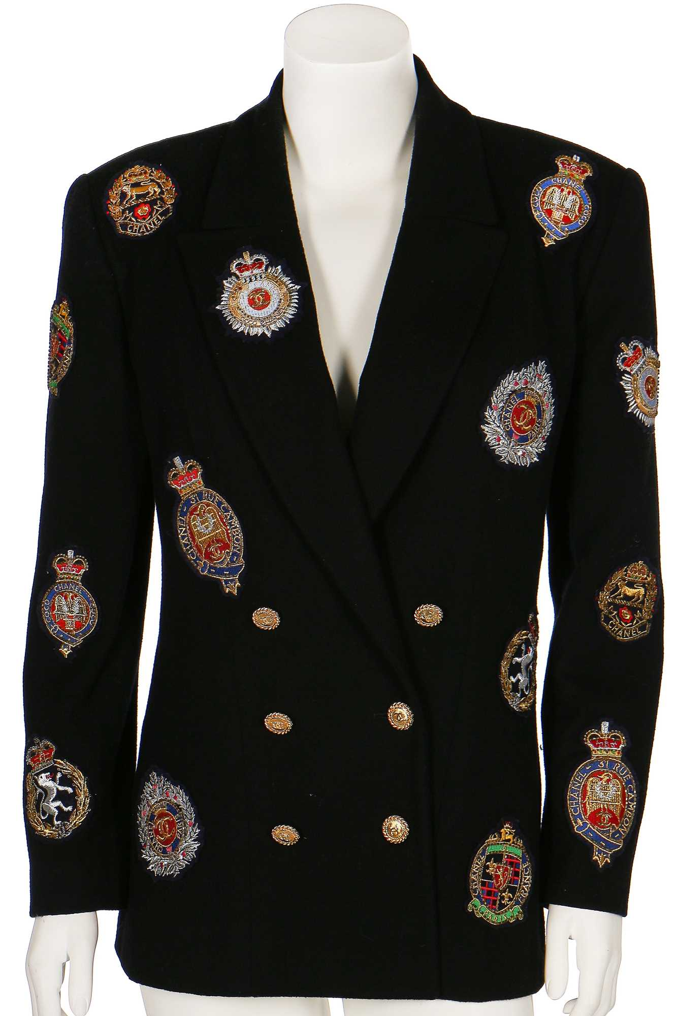 Lot 19-A Chanel by Karl Lagerfeld black wool blazer covered in embroidered badges, early 1990s