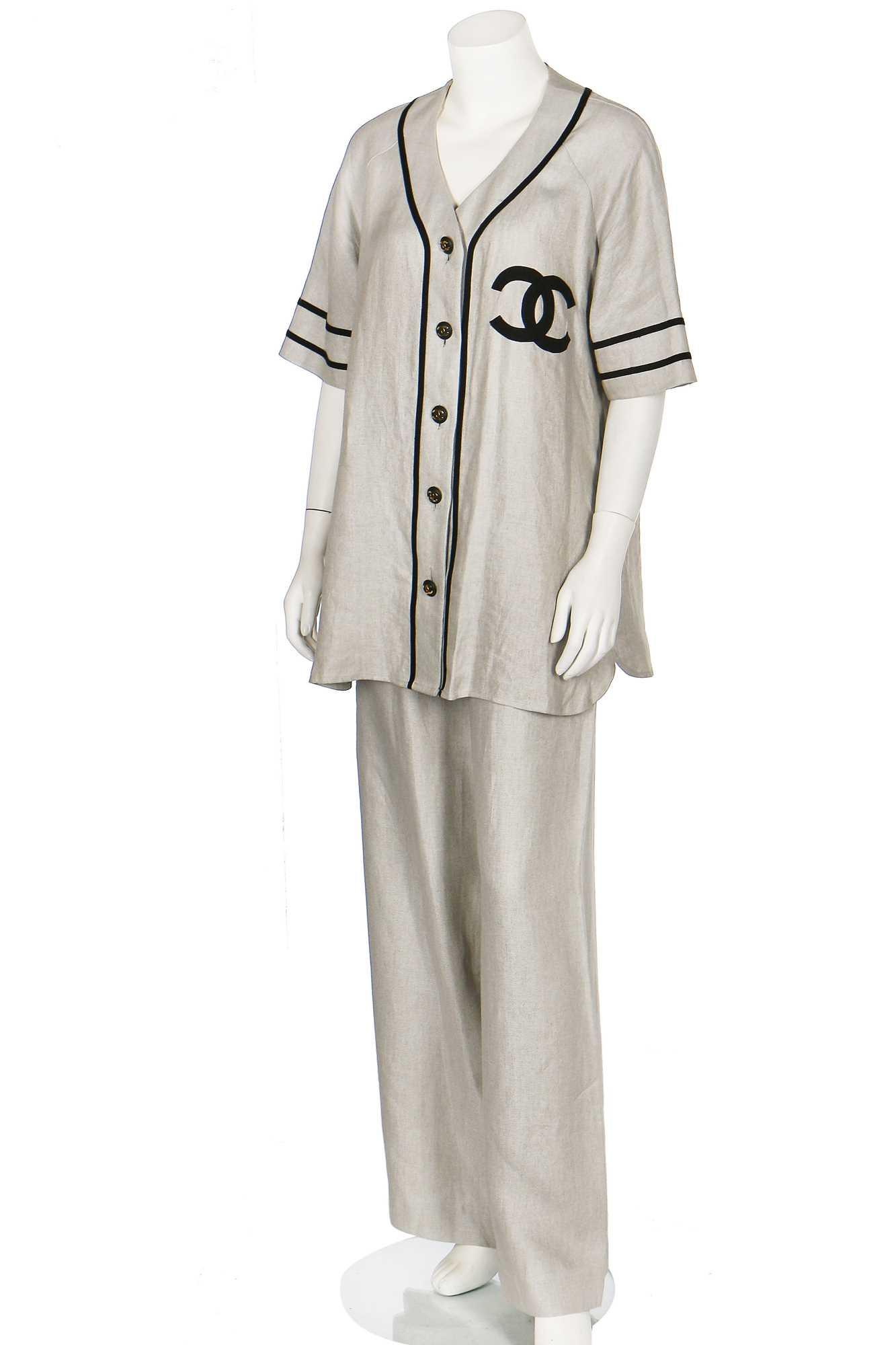 Lot 18-A Chanel by Karl Lagerfeld linen baseball-style ensemble, probably 1984