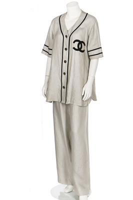 Lot 18-A Chanel by Karl Lagerfeld linen baseball-style ensemble, probably 1984