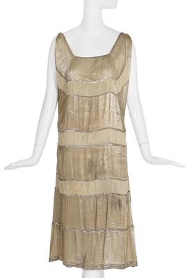 Lot 69-A rare Madeleine Vionnet couture striped gold lamé cocktail dress, circa 1923