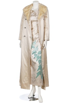 Lot 94-A Lanvin Castillo ivory silk evening-gown flocked with velvet ivy, mid 1960s