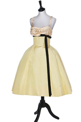Lot 85-A Balmain couture ivory satin cocktail dress, early 1960s