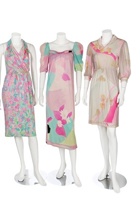 Lot 95-Three Leonard printed jersey dresses and a sarong, 1960s