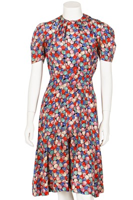 Lot 72-Eight mainly printed summer day dresses, 1940s