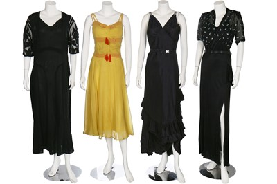 Lot 27-Five evening-gowns, late 1930s-1940s