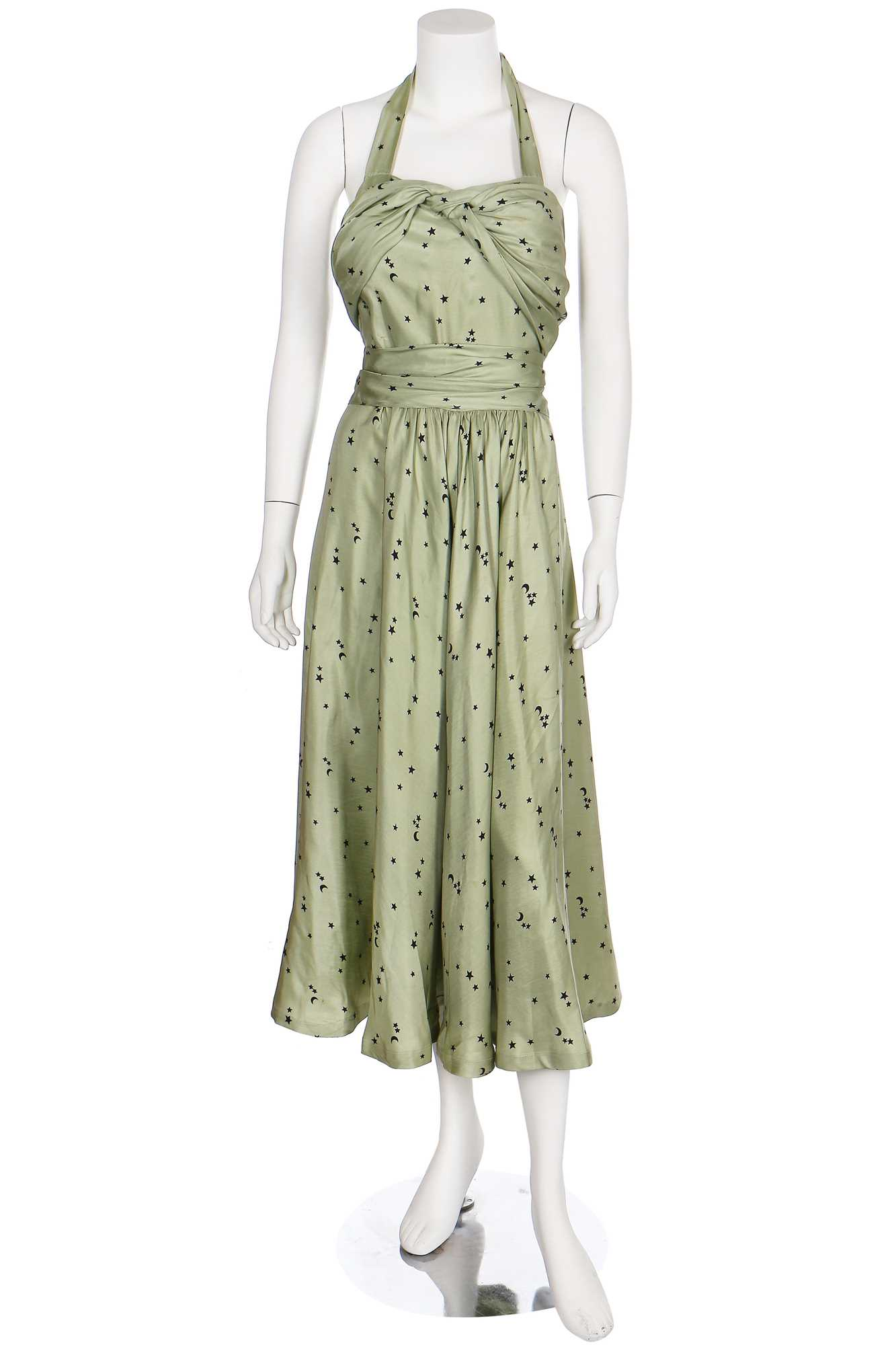 Lot 26-A Violet Tatum crescent-moon-and-stars printed green silk gown, late 1930s