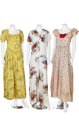 Lot 28-Twelve garden party dresses, late 1930s-1940s
