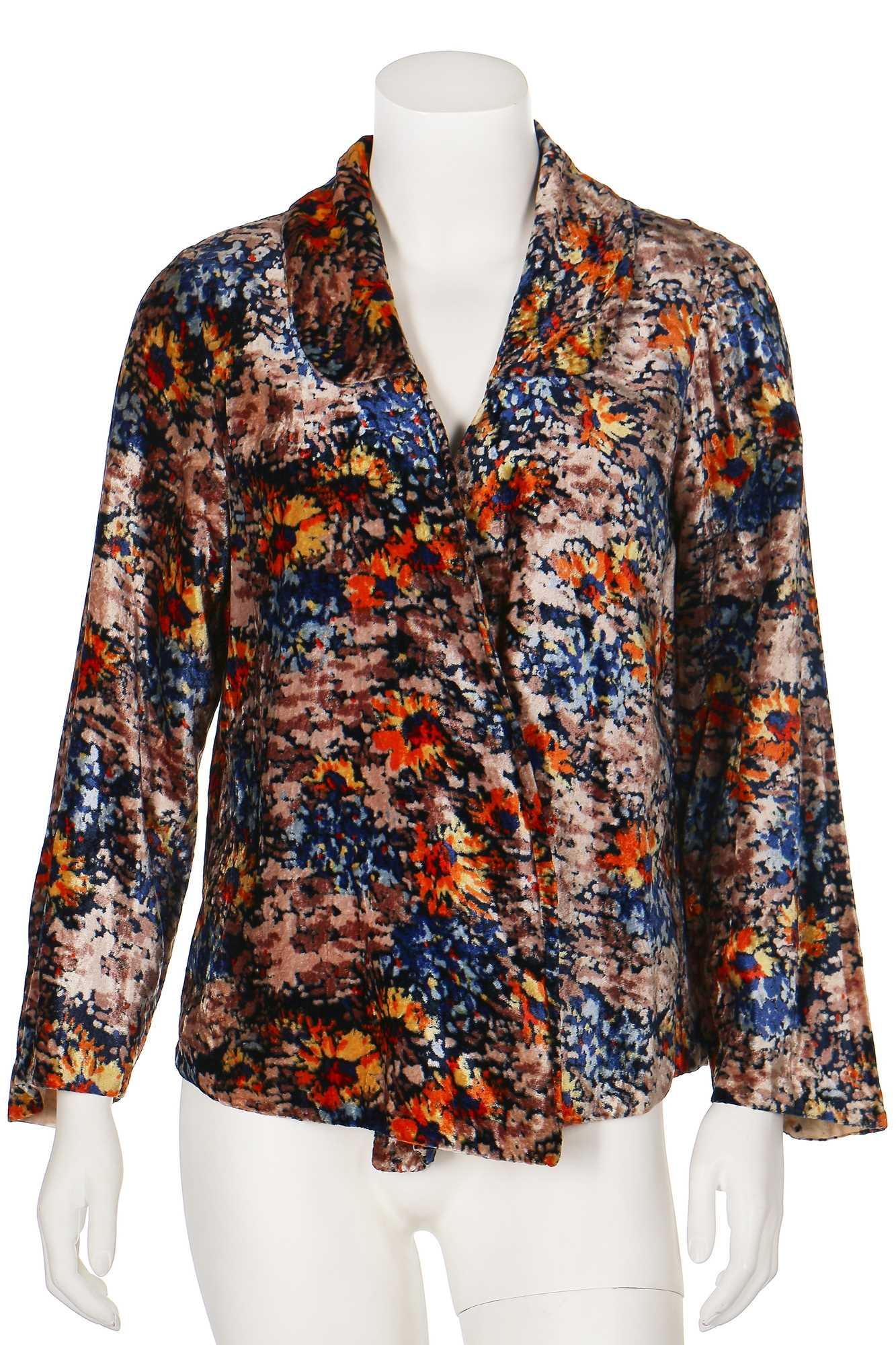 Lot 31-A floral printed velvet evening jacket, 1930s