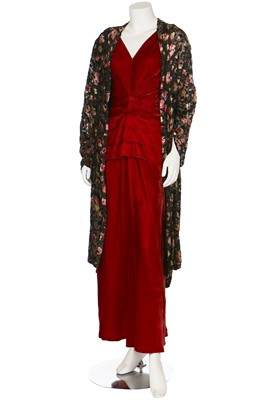 Lot 32-A devoré velvet and lamé evening coat, 1930s