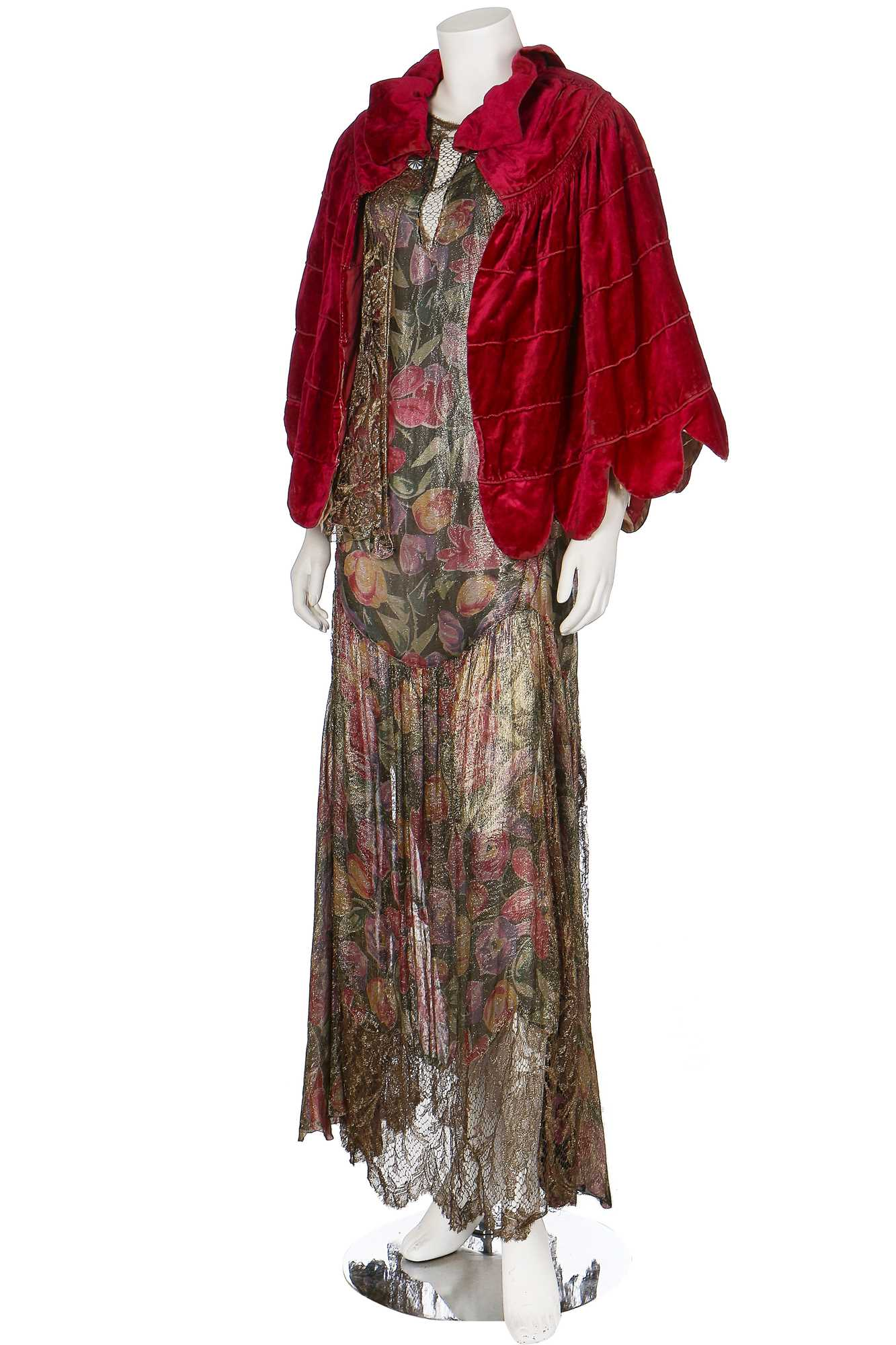 Lot 33-A good floral printed lamé and gold-lace evening gown, mid 1930s