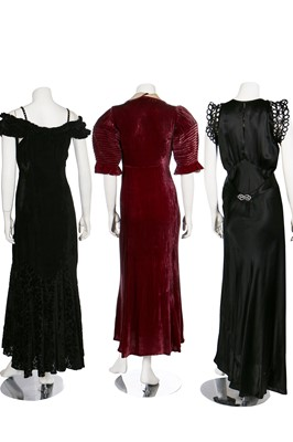 Lot 36-Five evening gowns in purple and black, 1930s
